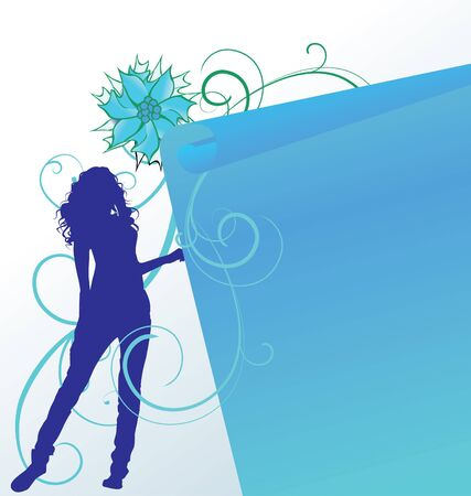 silhoette: vector girl silhoette with blue flower and scroll Stock Photo