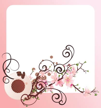 vector cup of coffee and  blossoming cherry tree brunch frame photo