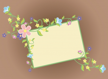 garden frame: vector brown background with color flowers frame
