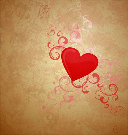 gold retro background with red heart photo