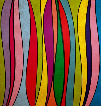 grunge colorful waved stripes on old, retro vintage paper Stock Photo
