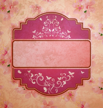 pink flowers frame grunge old paper photo