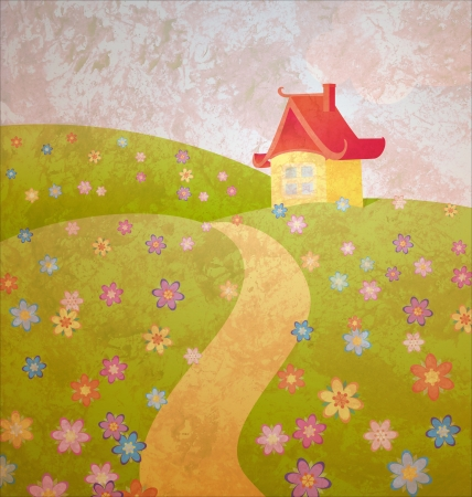 grunge old paper cartoon illustration with house and flower field illustration