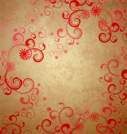 wedding photo album: gold retro background with red ornament