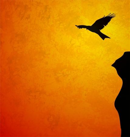 aigle royal: oiseau qui vole le lever du soleil noir sillhouette grunge orange illustration