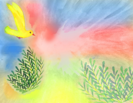 watercolor background with hand drawn bird and plants photo