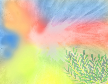 colorful watercolor background with yellow, red, blue and green