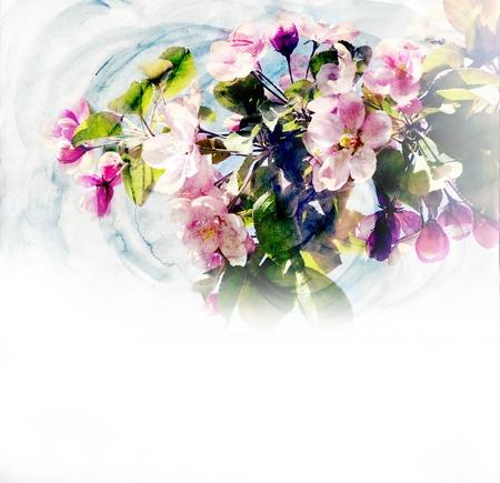 hand schilderen: lente bomen bloeien CG waterverf illustratie Stockfoto