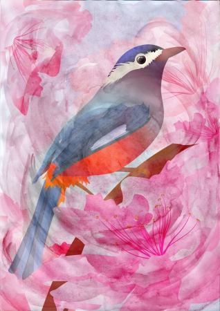 pink flowers and bird CG watercolor illustration