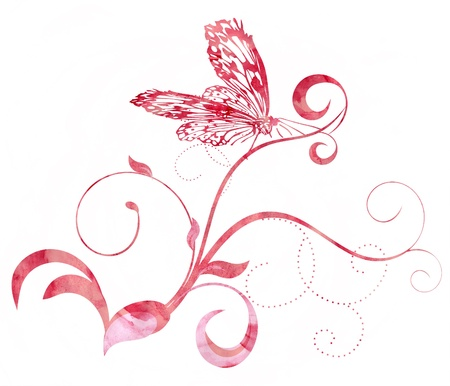 red pink butterfly curves CG watercolor illustration illustration