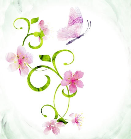 red pink butterfly curves CG watercolor illustration Stock Photo
