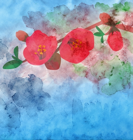 wet leaf: watercolor garnet flower with colorful background
