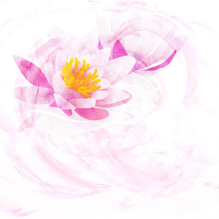 water drops on leaf: pink water lily CG watercolor illustration isolated on white