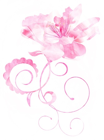 pink CG watercolor flower curves illustration isolated on white