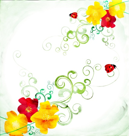 red and yellow CG watercolor illustration with red ladybirds illustration