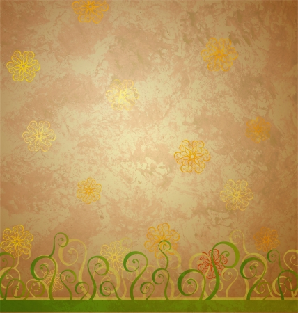 vintage style brown paper with yellow and green nature decor photo