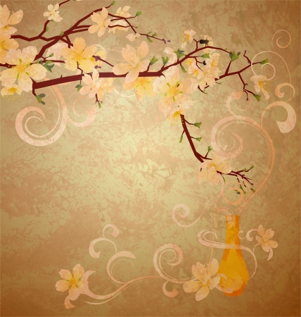 yellow blossoming tree and fragrance vintage style illustration