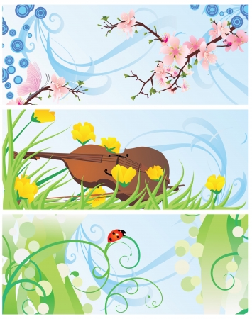 spring banners set with blossom tree, violin, flowers and ladybird photo
