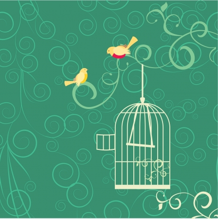 bird cage: couple of yellow birds, open cage and flourishes on green backgrouns Stock Photo