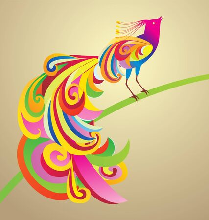 Peafowl bird decor style illustration colorful image illustration