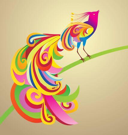 Peafowl bird decor style illustration colorful image