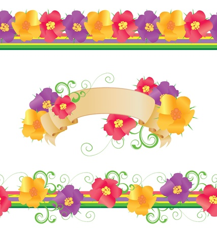 bright borders: flowers and butterflies borders vector isolated on white for easter and mothers day