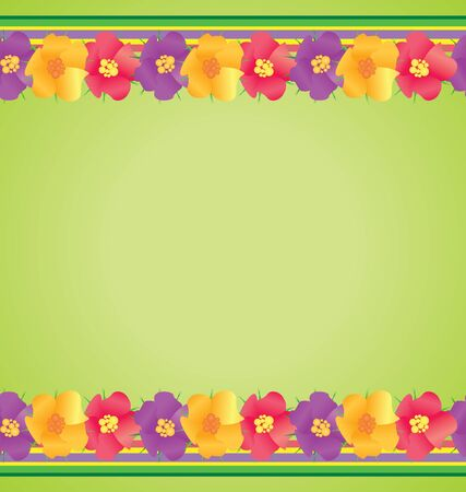 colorful flowers border on green background spring nature  photo