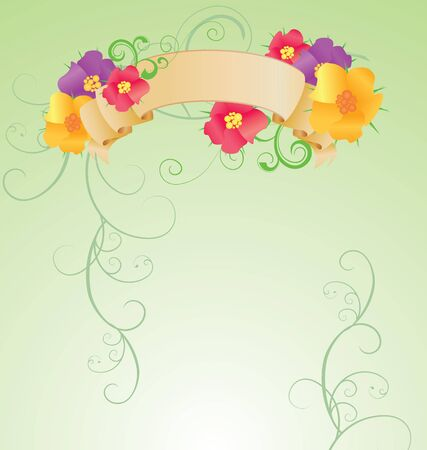 colorful flowers scroll on green background spring nature Stock Photo - 14815752