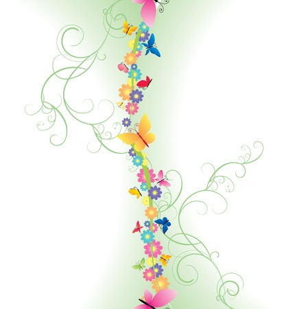 page border: colorful flowers border on green background spring nature