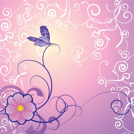purple butterfly: detailed butterfly with floral ornament on magenta backdrop