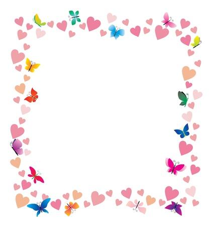 affetto: cuori vettoriali e cartone animato cornice farfalle su sfondo bianco