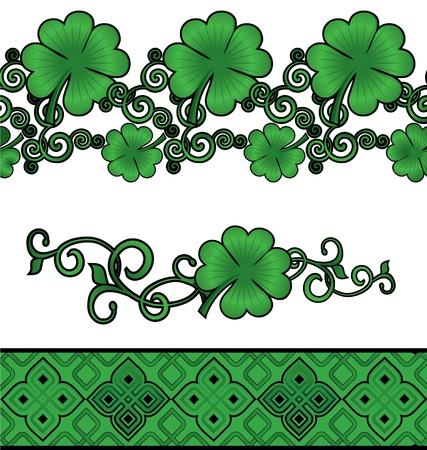 Vector green Patricks day shamrock or clover decor borders set isolated on white photo