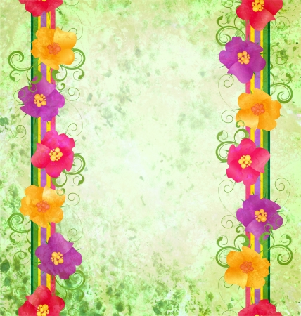 colorful flowers border on green background spring nature grunge background photo