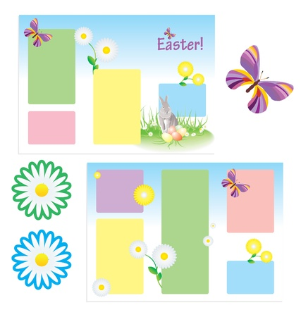 folder template for spring easter with butterfly and flowers and rabbit Stock Photo - 14815811
