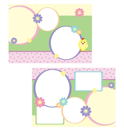 folder template for spring easter with chicken and flowers photo