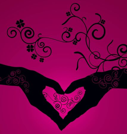 heart shaped hands silhouette on dark pink background photo