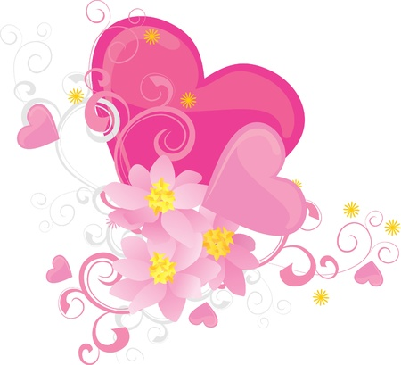 pink hearts and flowers  valentine photo