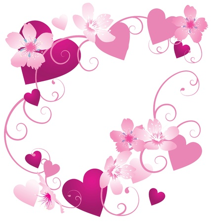 pink and purple hearts frame with floral decor, cherry flowers isolated on white photo