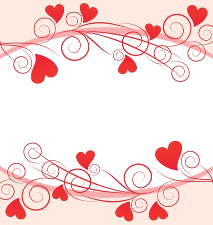 floral borders:  red hearts graphic frame on white background Stock Photo