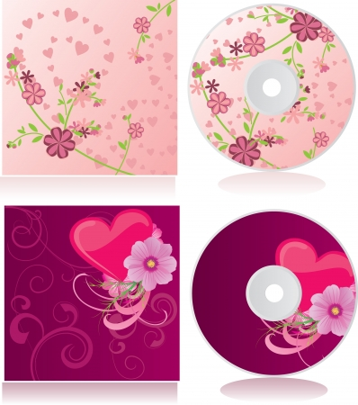 dvd cover: vector pink flowers discs covers set Stock Photo