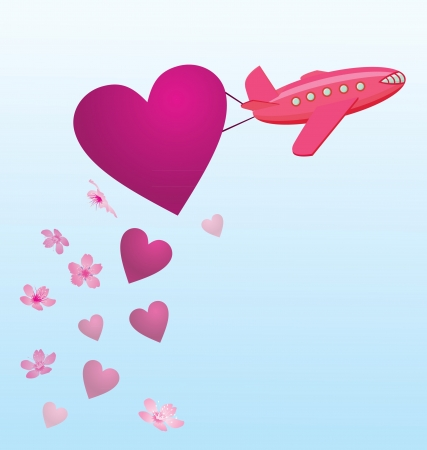 flying plane with hearts and flowers in the sky Stock Photo