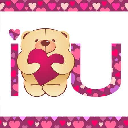 teddy bear with heart and i love you text on white background with hearts border
