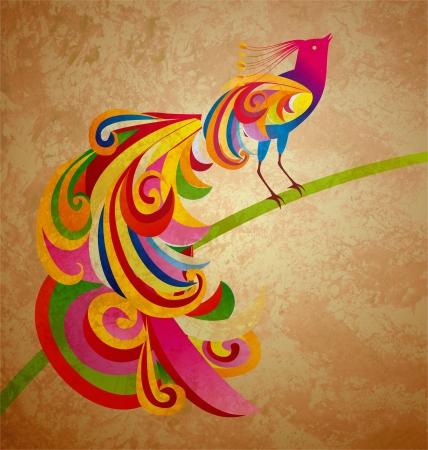grunge illustration of decorative peacock (peafowl) bird sitting on the brunch illustration