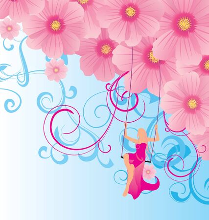 dress sketch: young model in the sky on swings with pink flowers illustration Stock Photo