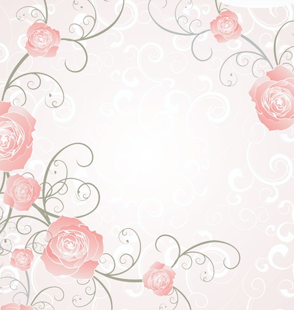 roses frame pink, romance love illustration illustration