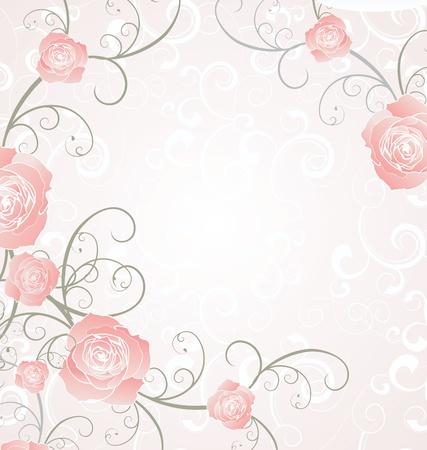 roses frame pink, romance love illustration Stock Photo