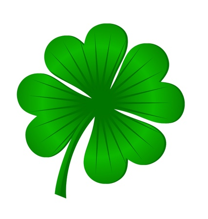 4 leaves luck clover green isolated on white Stock Photo - 14815719