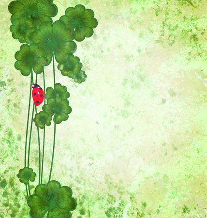 quarterfoil: clover with ladybug on green grunge texture background St. Patrick day border illustration