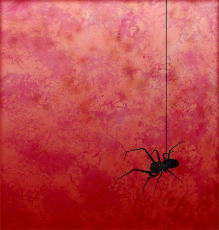 cartoon vampire: textured red background with spider silhouette horror image