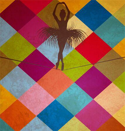 young dancing balancing acrobat woman on grunge squares woman